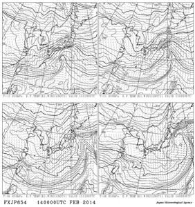 2月14日850hPa12時間毎の予測天気図