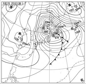 地上天気図2015:3:10:日本時12 時